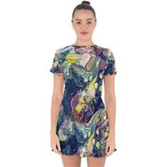 Paint Acrylic Paint Art Colorful Drop Hem Mini Chiffon Dress by Pakrebo