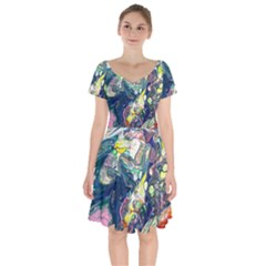 Paint Acrylic Paint Art Colorful Short Sleeve Bardot Dress