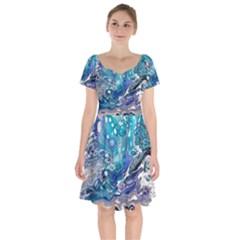 Paint Acrylic Paint Art Colorful Short Sleeve Bardot Dress