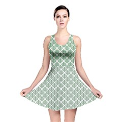 Green Leaf Pattern Reversible Skater Dress