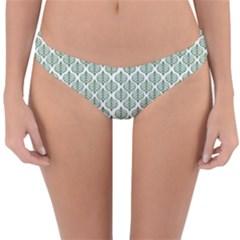 Green Leaf Pattern Reversible Hipster Bikini Bottoms