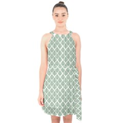 Green Leaf Pattern Halter Collar Waist Tie Chiffon Dress