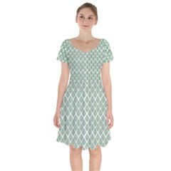 Green Leaf Pattern Short Sleeve Bardot Dress