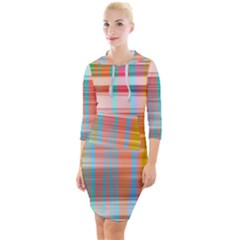 Abstract Color Quarter Sleeve Hood Bodycon Dress