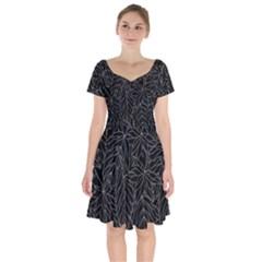 Autumn Leaves Black Short Sleeve Bardot Dress
