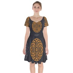 Background Design Pattern Tile Short Sleeve Bardot Dress by Mariart