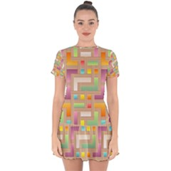 Abstract Background Colorful Drop Hem Mini Chiffon Dress