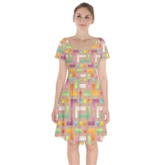 Abstract Background Colorful Short Sleeve Bardot Dress by HermanTelo