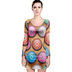 Background Colorful Abstract Brown Long Sleeve Bodycon Dress