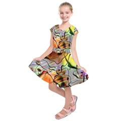 Abstract Transparent Drawing Kids  Short Sleeve Dress