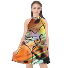 Abstract Transparent Drawing Halter Neckline Chiffon Dress