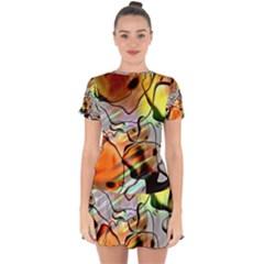Abstract Transparent Drawing Drop Hem Mini Chiffon Dress