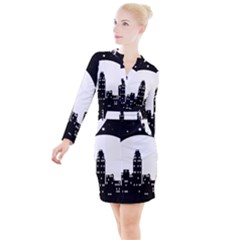 City Night Moon Star Button Long Sleeve Dress