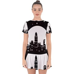 City Night Moon Star Drop Hem Mini Chiffon Dress by HermanTelo