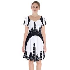 City Night Moon Star Short Sleeve Bardot Dress by HermanTelo