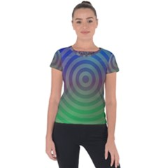 Blue Green Abstract Background Short Sleeve Sports Top
