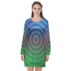 Blue Green Abstract Background Long Sleeve Chiffon Shift Dress