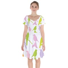 Birds Colourful Background Short Sleeve Bardot Dress by HermanTelo