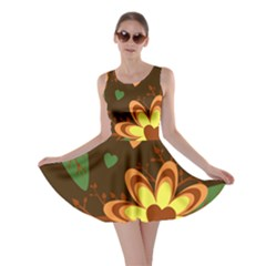 Floral Hearts Brown Green Retro Skater Dress