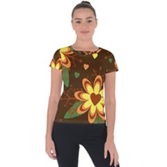 Floral Hearts Brown Green Retro Short Sleeve Sports Top