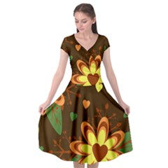 Floral Hearts Brown Green Retro Cap Sleeve Wrap Front Dress