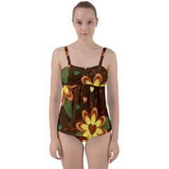 Floral Hearts Brown Green Retro Twist Front Tankini Set by HermanTelo