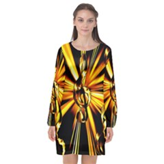 Clef Golden Music Long Sleeve Chiffon Shift Dress