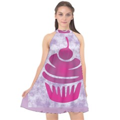 Cupcake Food Purple Dessert Baked Halter Neckline Chiffon Dress  by HermanTelo