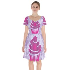 Cupcake Food Purple Dessert Baked Short Sleeve Bardot Dress