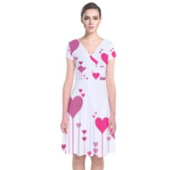 Heart Rosa Love Valentine Pink Short Sleeve Front Wrap Dress