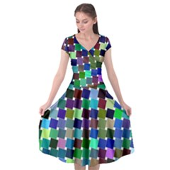 Geometric Background Colorful Cap Sleeve Wrap Front Dress by HermanTelo