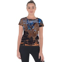 Landscape Woman Magic Evening Short Sleeve Sports Top
