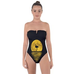 Moon Reflection Flamenco Animal Tie Back One Piece Swimsuit by HermanTelo