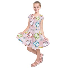 Owl Bird Cute Pattern Background Kids  Short Sleeve Dress