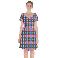 Squares Spheres Backgrounds Texture Short Sleeve Bardot Dress