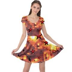 Star Radio Light Effects Magic Cap Sleeve Dress