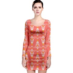 Seamless Pattern Background Red Long Sleeve Bodycon Dress