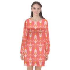 Seamless Pattern Background Red Long Sleeve Chiffon Shift Dress