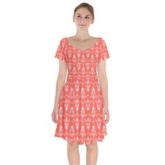 Seamless Pattern Background Red Short Sleeve Bardot Dress