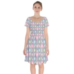 Seamless Pattern Pastels Background Short Sleeve Bardot Dress