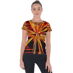 Zoom Effect Explosion Fire Sparks Short Sleeve Sports Top