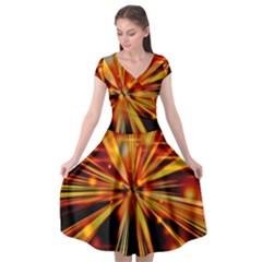 Zoom Effect Explosion Fire Sparks Cap Sleeve Wrap Front Dress