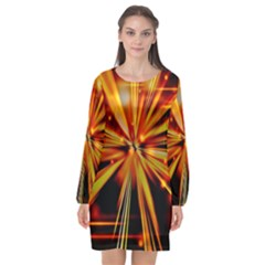Zoom Effect Explosion Fire Sparks Long Sleeve Chiffon Shift Dress