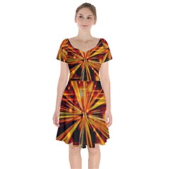 Zoom Effect Explosion Fire Sparks Short Sleeve Bardot Dress