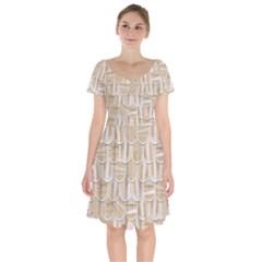 Texture Background Brown Beige Short Sleeve Bardot Dress by HermanTelo