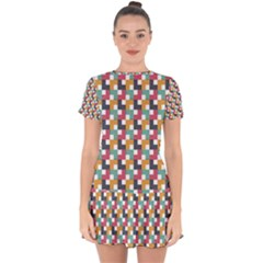 Abstract Geometric Drop Hem Mini Chiffon Dress by HermanTelo