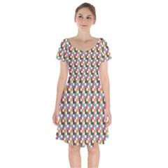 Abstract Geometric Short Sleeve Bardot Dress