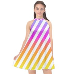 Abstract Lines Mockup Oblique Halter Neckline Chiffon Dress