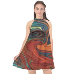 Abstract Art Pattern Halter Neckline Chiffon Dress  by HermanTelo