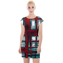 Abstract Color Background Form Cap Sleeve Bodycon Dress